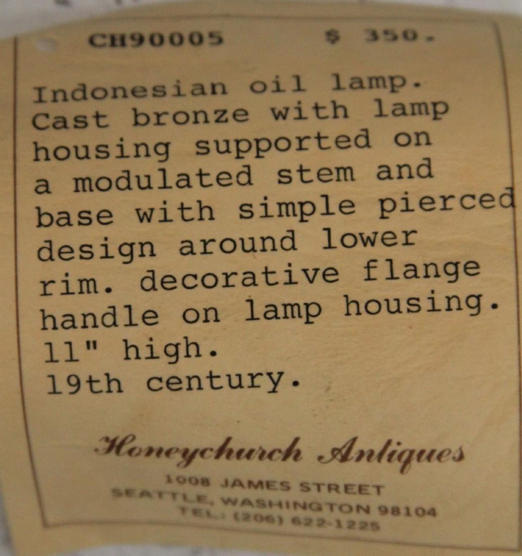 19TH C. INDONESIAN CAST METAL OIL LAMP - 3