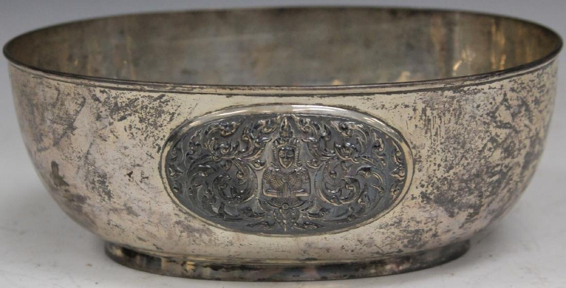 THAI SILVER BOWL WITH MEDALLIONS