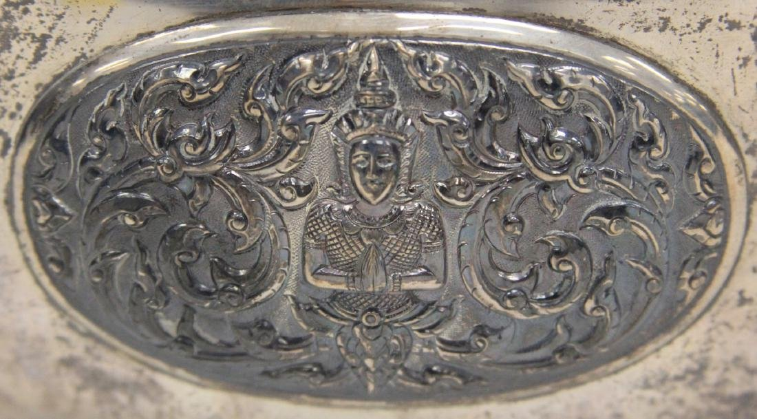 THAI SILVER BOWL WITH MEDALLIONS - 2