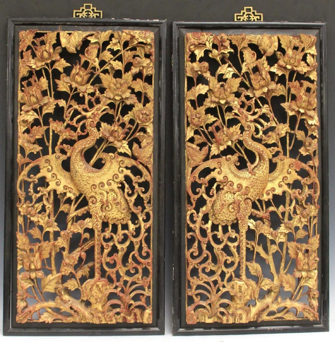 PAIR OF CHINESE CARVED WOOD PANELS