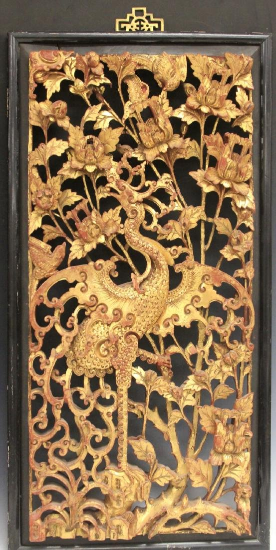 PAIR OF CHINESE CARVED WOOD PANELS - 2