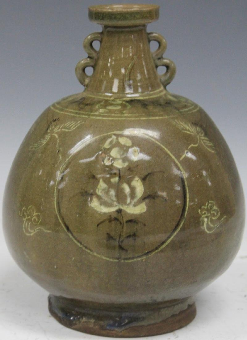"VINTAGE POTTERY BOTTLE, 8"" H"