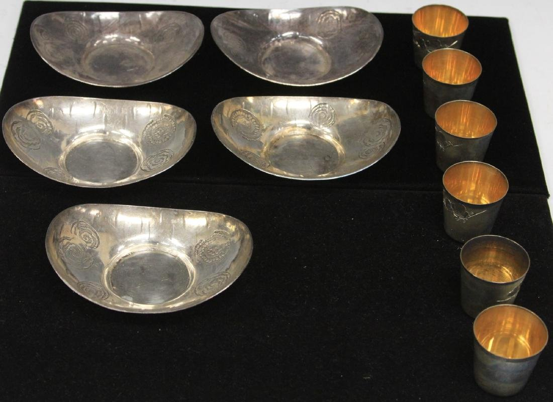 LOT OF (11) JAPANESE SILVER SAKE CUP & SAUCERS