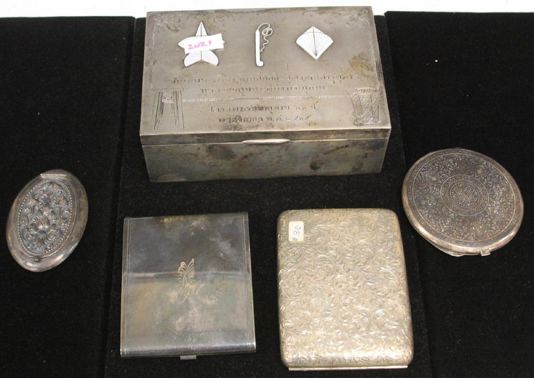 LOT OF (5) SOUTHEAST ASIAN SILVER COMPACTS