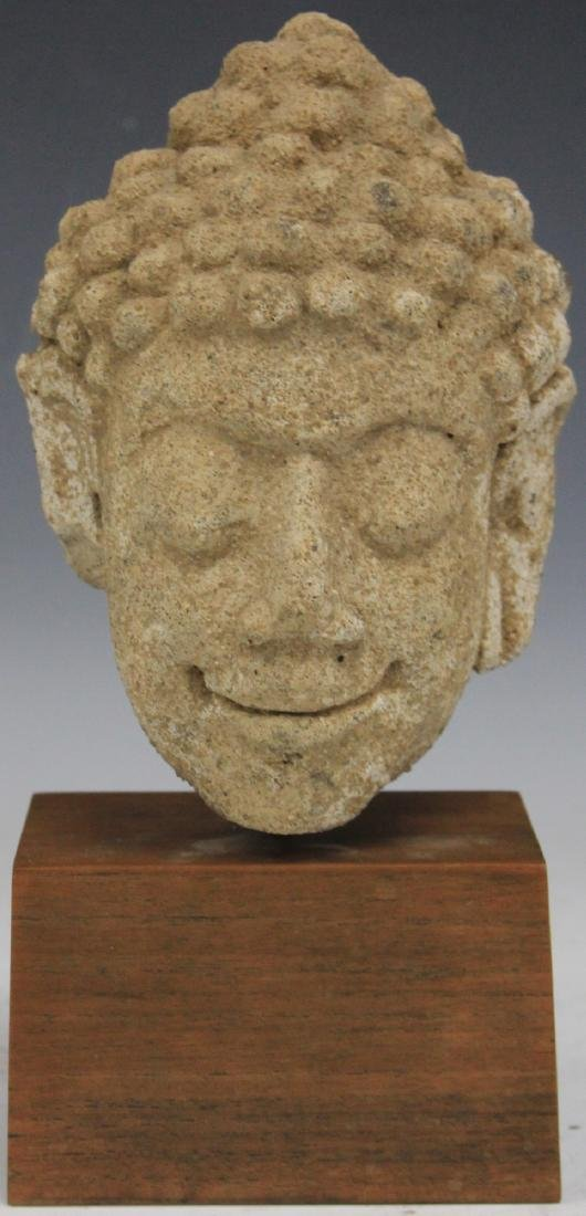 SOUTHEAST ASIAN CARVED STONE BUDDHA
