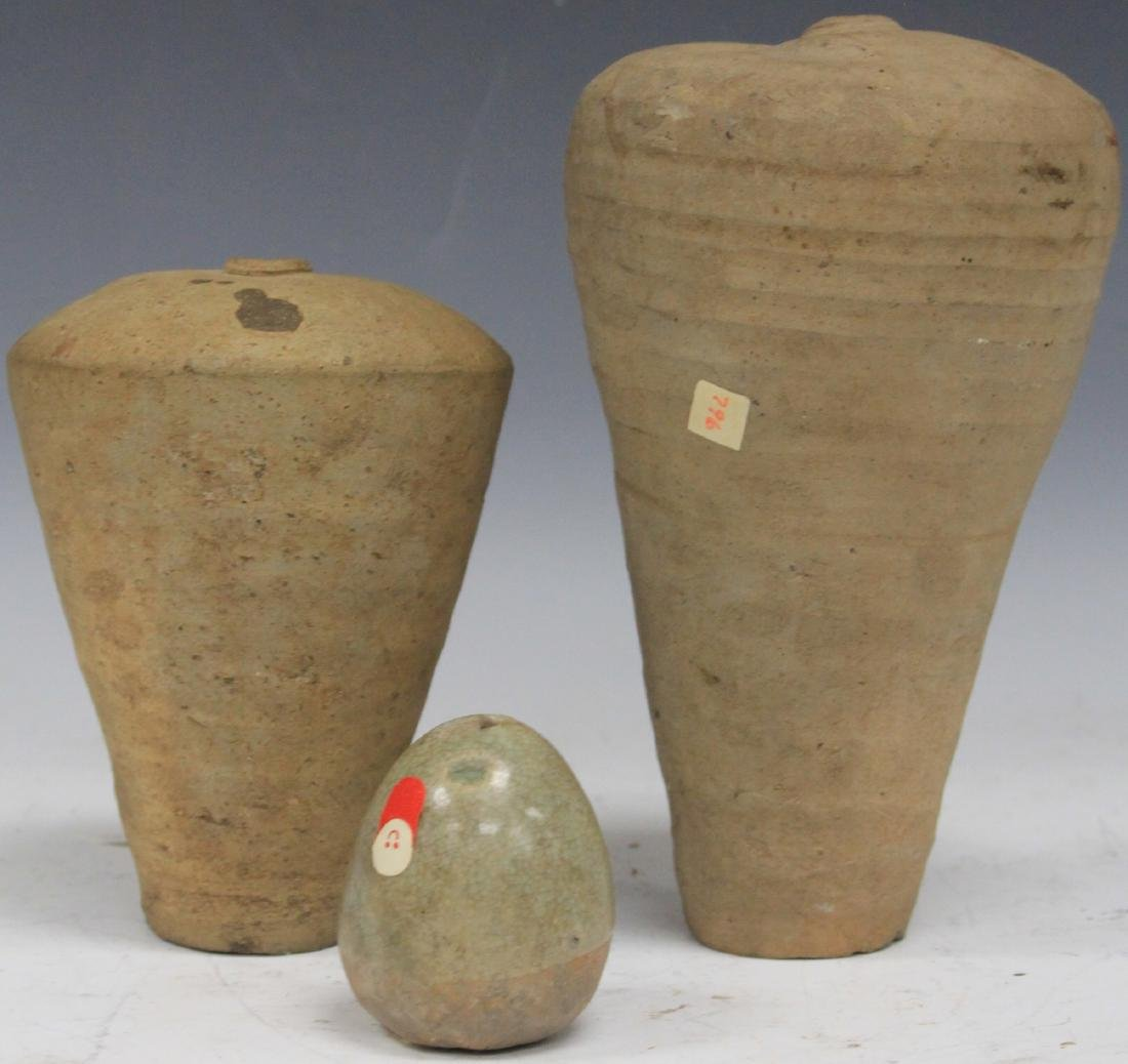 LOT OF (3) CHINESE POTTERY BOTTLES