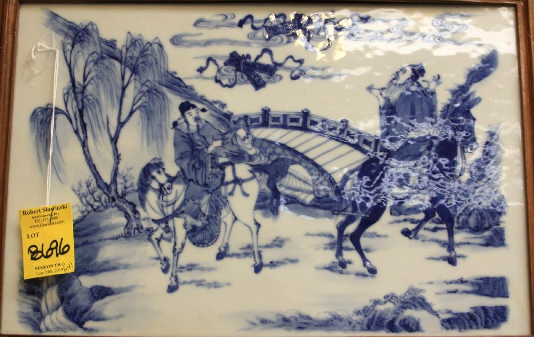 SET OF (4) CHINESE BLUE & WHITE PORCELAIN PLAQUES - 10