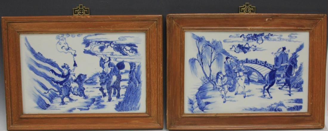 SET OF (4) CHINESE BLUE & WHITE PORCELAIN PLAQUES - 2