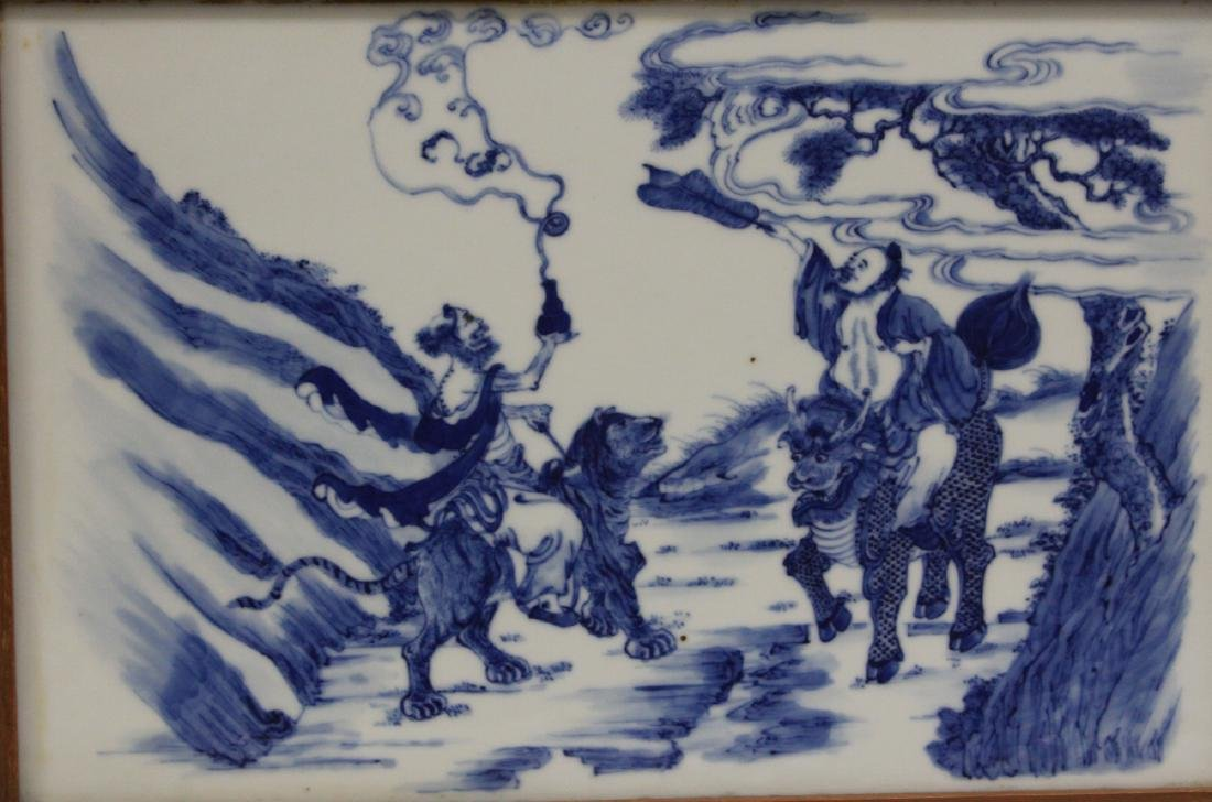 SET OF (4) CHINESE BLUE & WHITE PORCELAIN PLAQUES - 4