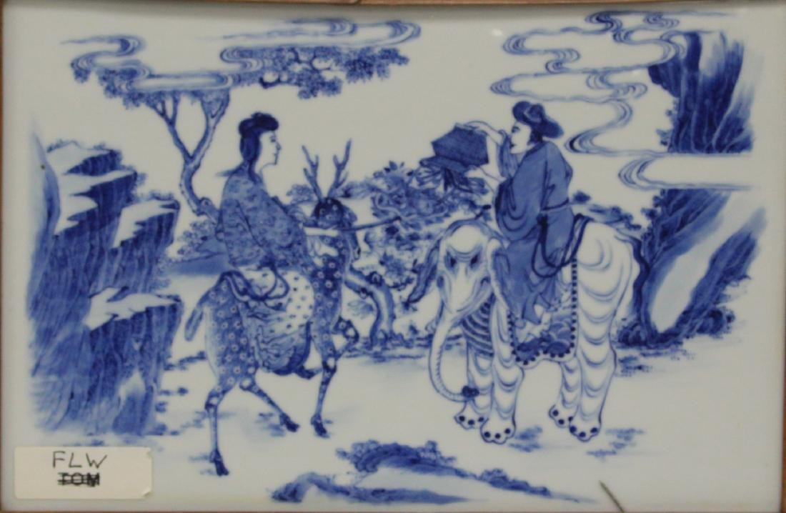 SET OF (4) CHINESE BLUE & WHITE PORCELAIN PLAQUES - 5