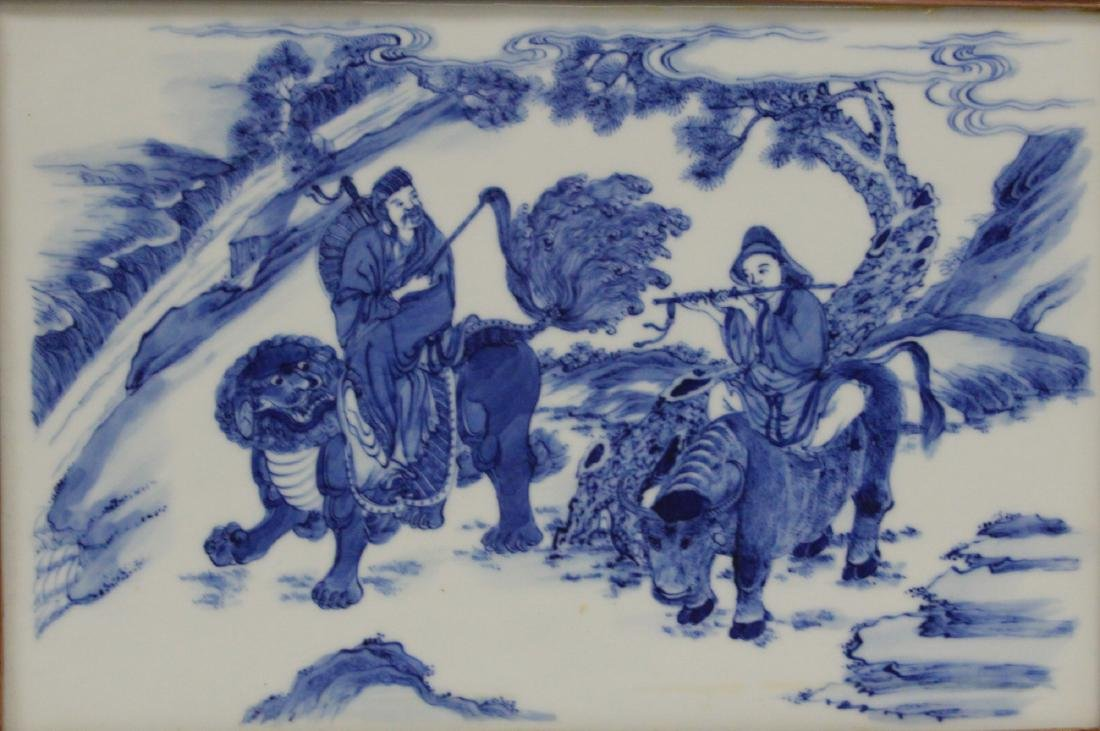 SET OF (4) CHINESE BLUE & WHITE PORCELAIN PLAQUES - 6