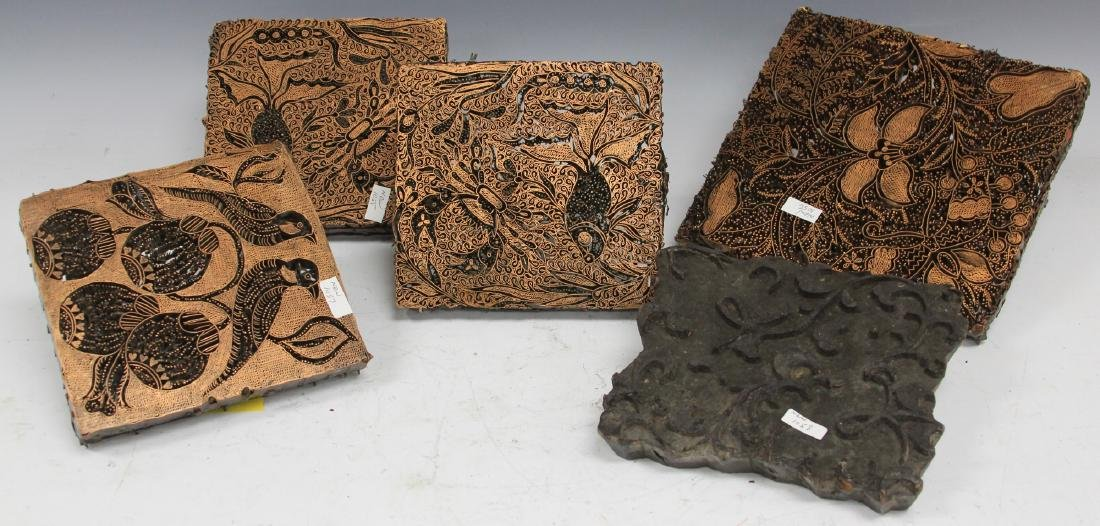 LOT OF (5) BATIK PRINT BLOCKS