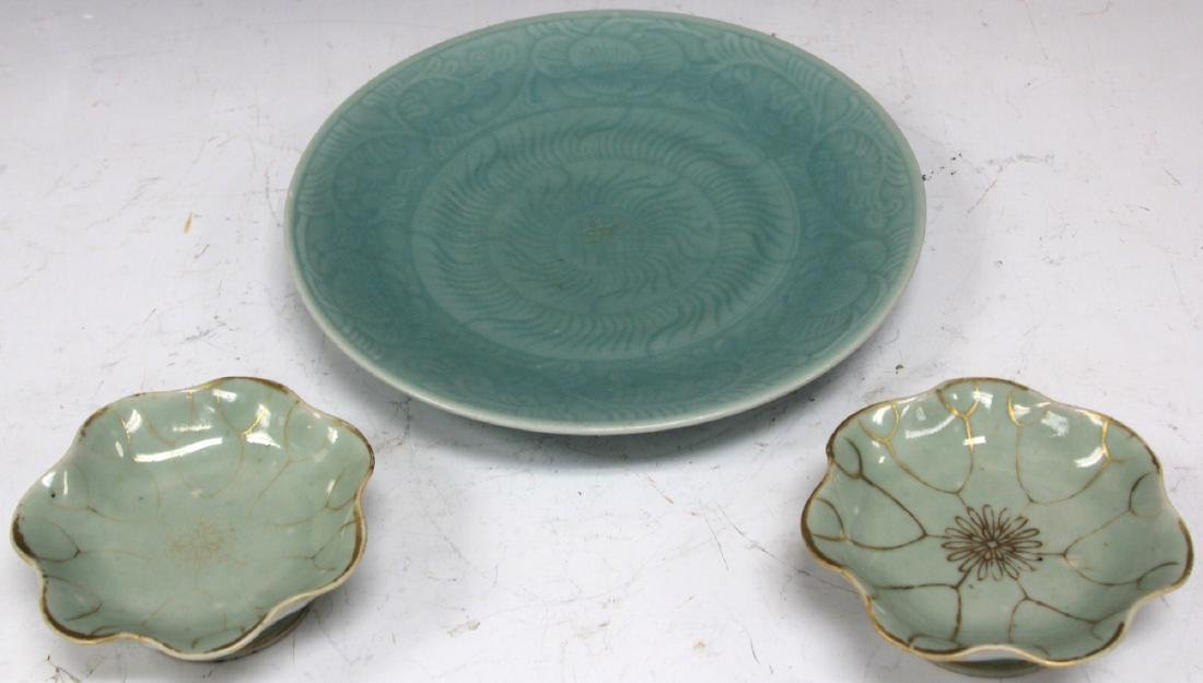 LOT OF (3) VINTAGE CHINESE CELADON PLATES