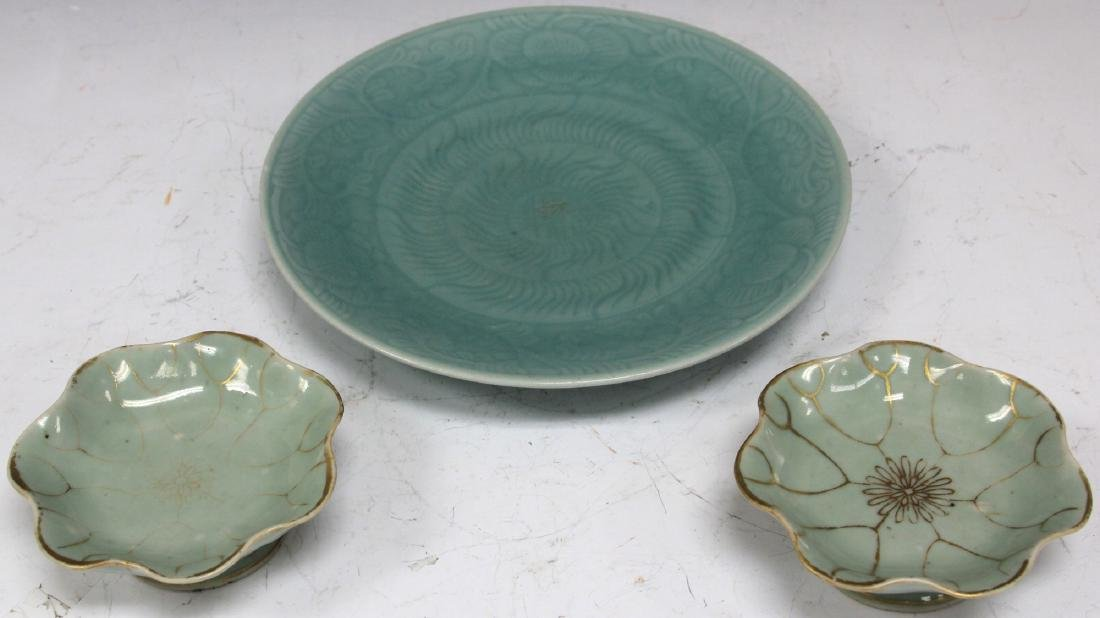 LOT OF (3) VINTAGE CHINESE CELADON PLATES - 2