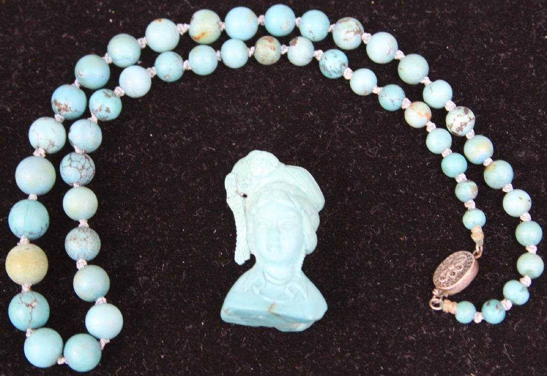 CHINESE CARVED TURQUOISE NECKLACE