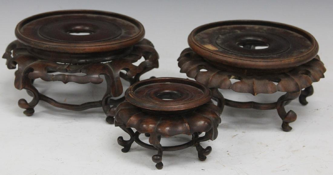 LOT OF (3) CHINESE CARVED WOOD STANDS