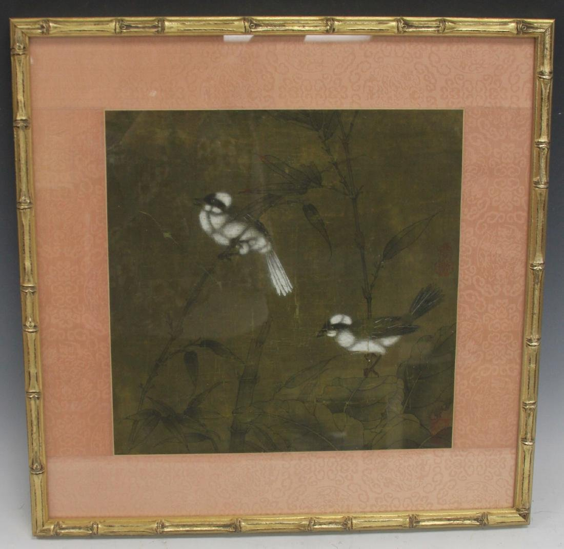 FRAMED CHINESE PAINTING WITH BIRDS