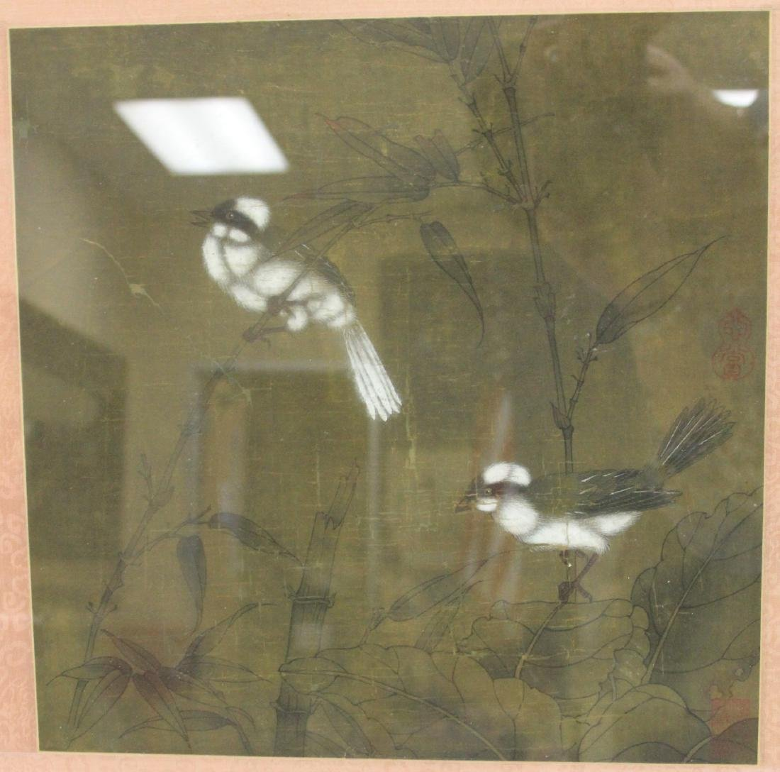 FRAMED CHINESE PAINTING WITH BIRDS - 2