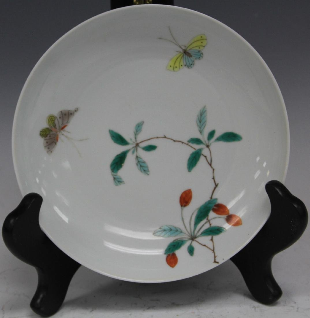 VINTAGE CHINESE PAINTED DISH WITH BUTTERFLIES