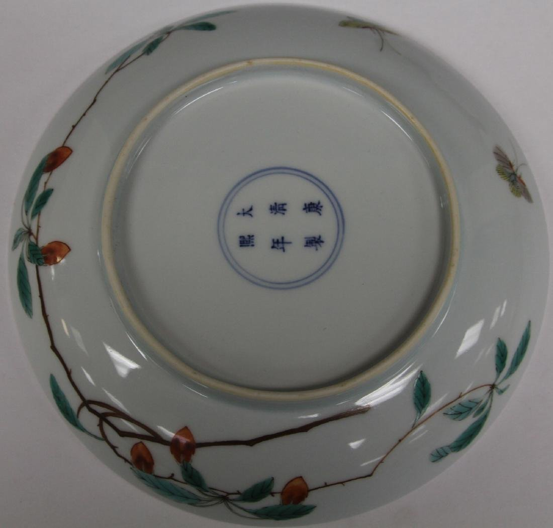 VINTAGE CHINESE PAINTED DISH WITH BUTTERFLIES - 2