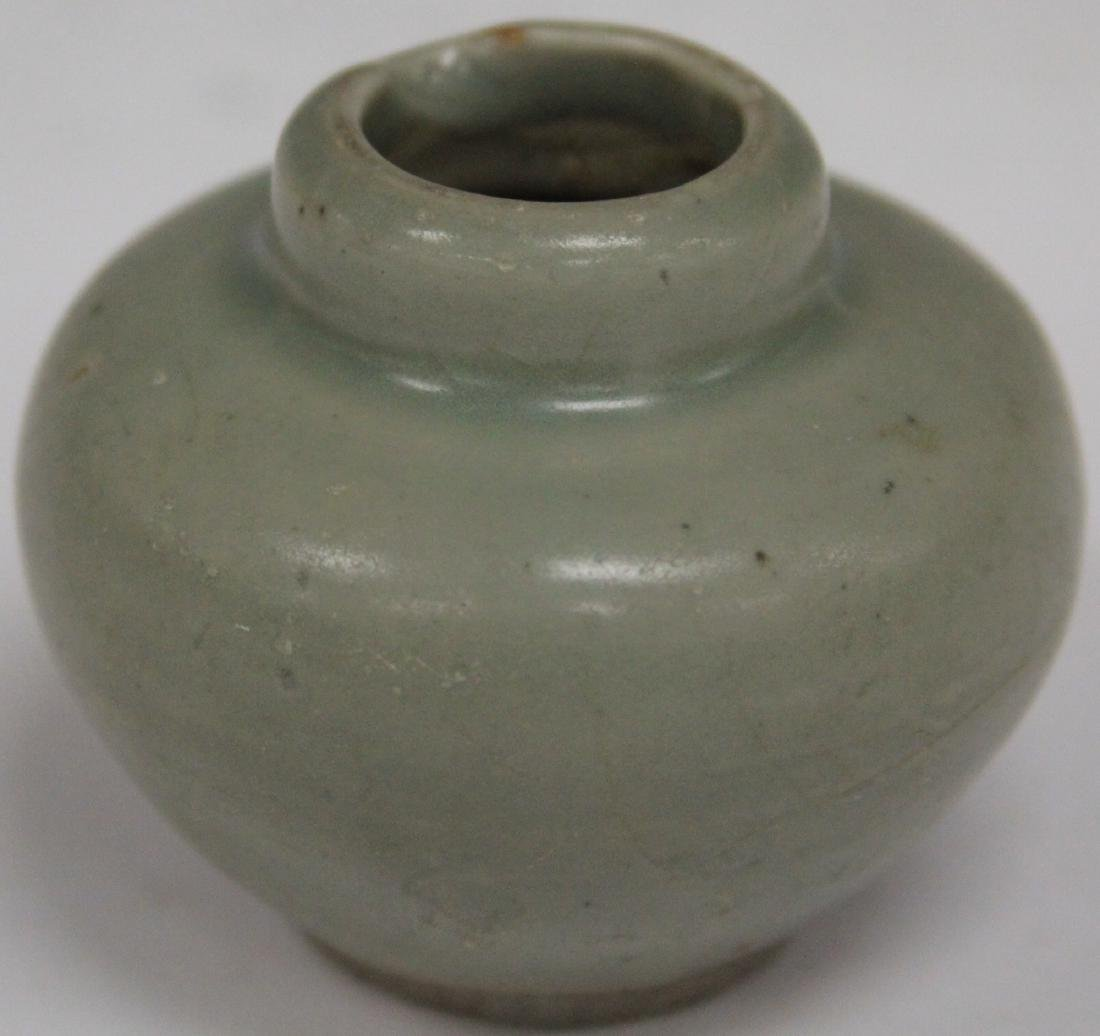 "EARLY CELADON POTTERY VASE, 2 1/2"" H"