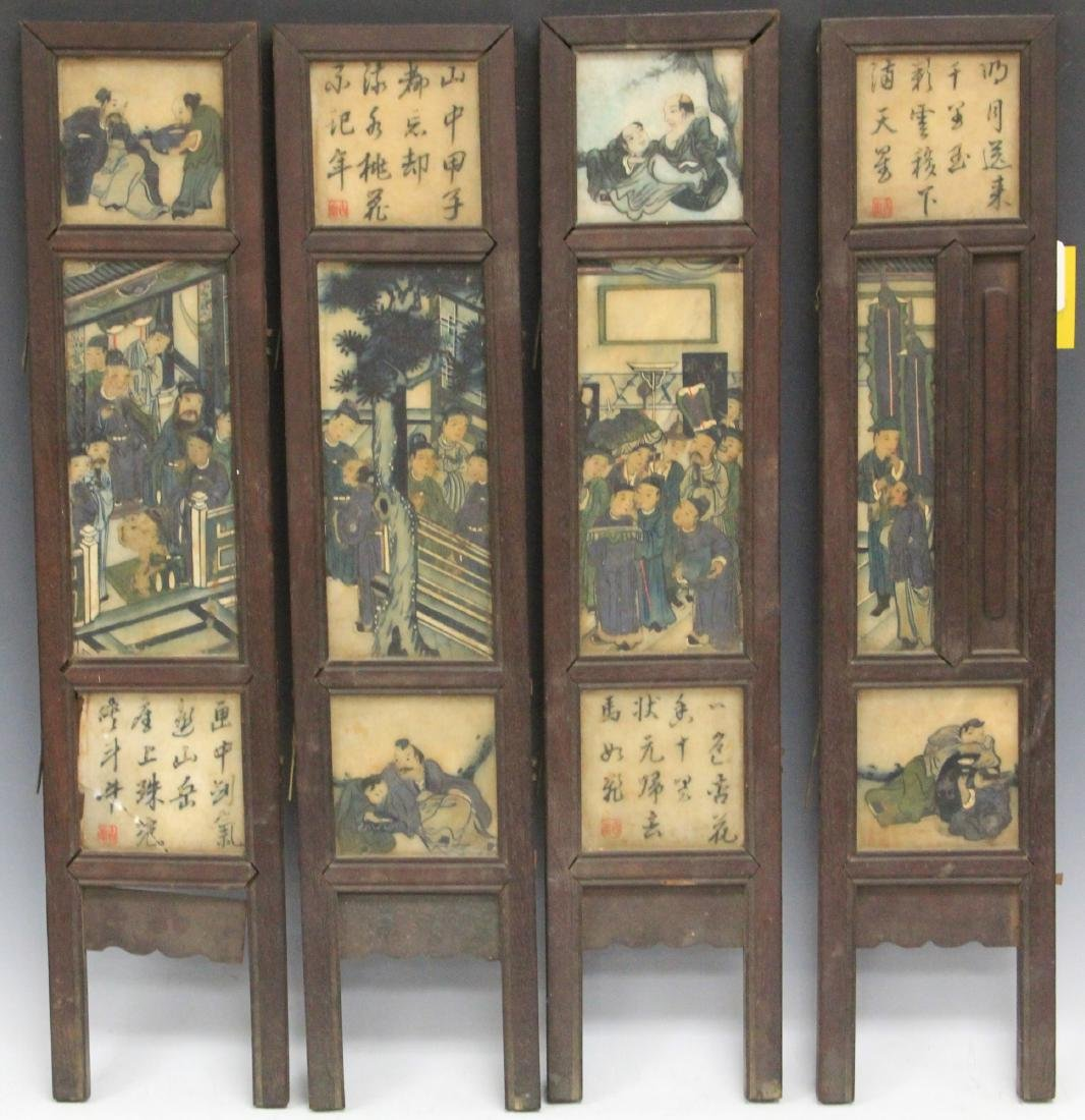 QING DYNASTY CHINESE PAINTING ON MARBLE SCREEN