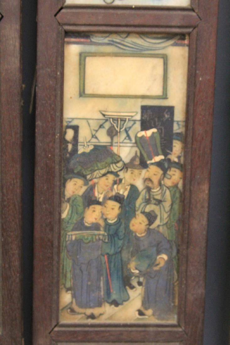 QING DYNASTY CHINESE PAINTING ON MARBLE SCREEN - 2
