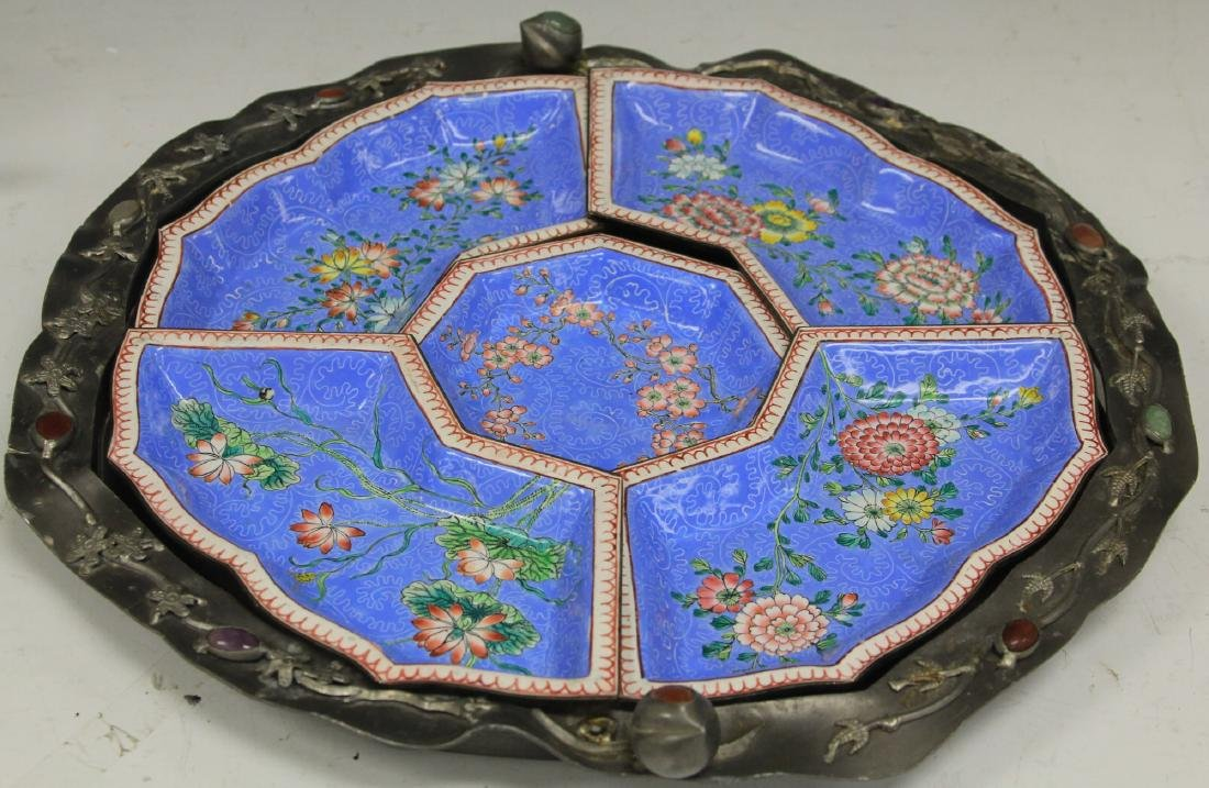 """VINTAGE CHINESE PEWTER TRAY, 17"""" L"""