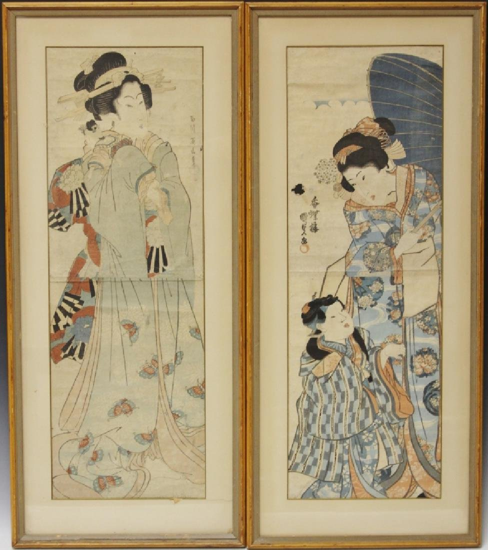 PAIR OF 18TH/19TH C. JAPANESE WOODBLOCK PRINTS
