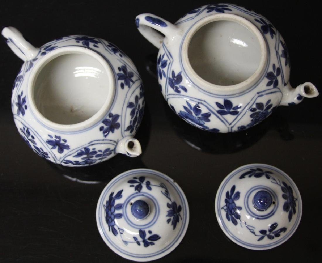 PAIR OF CHINESE BLUE & WHITE PORCELAIN TEAPOTS - 6