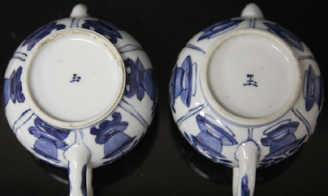 PAIR OF CHINESE BLUE & WHITE PORCELAIN TEAPOTS - 8