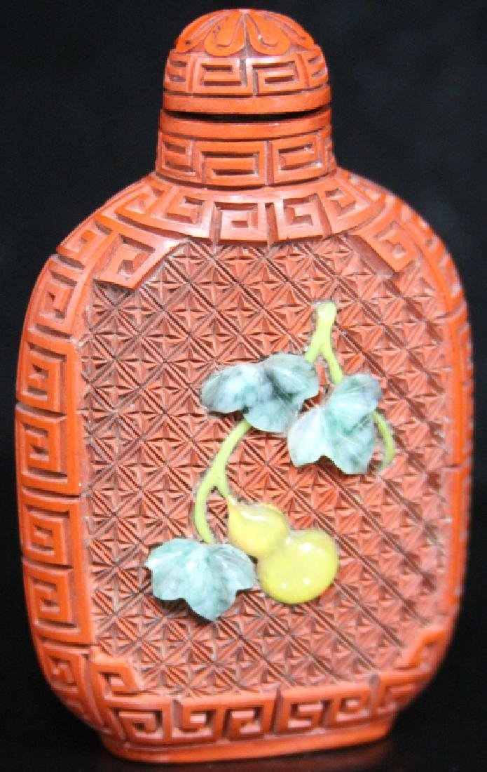 EARLY CHINESE CINNABAR SNUFF BOTTLE - 2