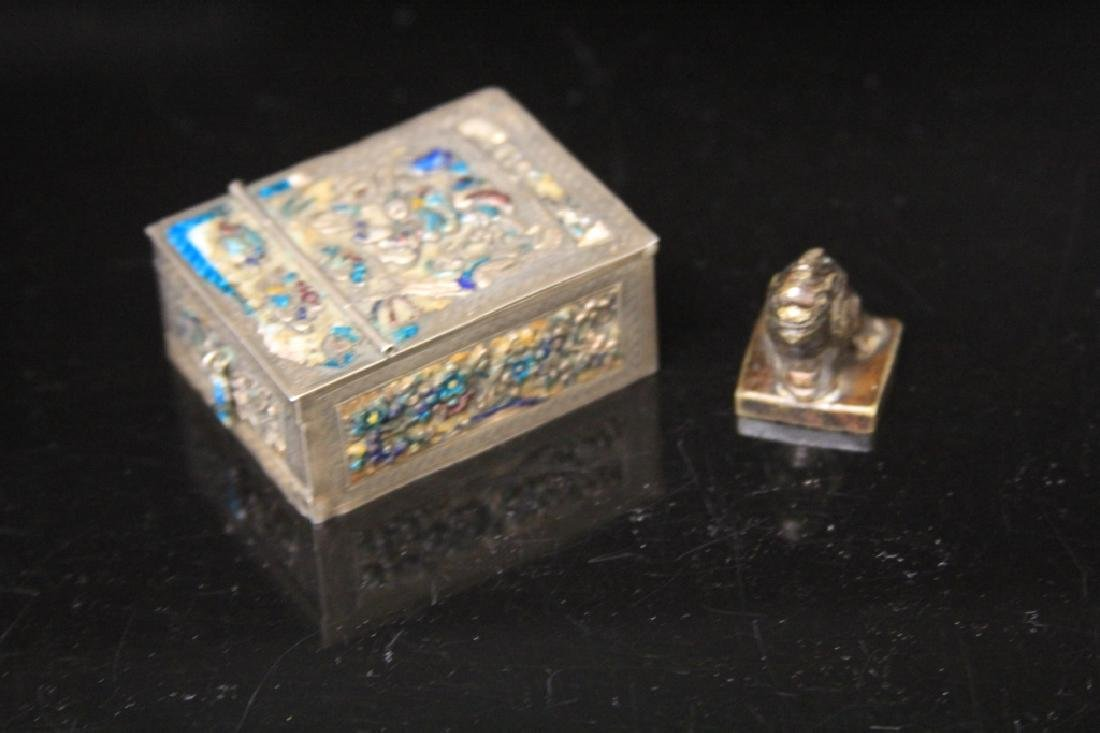 LOT OF (2) CHINESE MIRROR BOX & STAMP