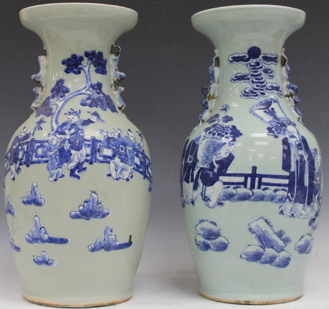 PAIR OF CHINESE BLUE AND WHITE PORCELAIN URNS