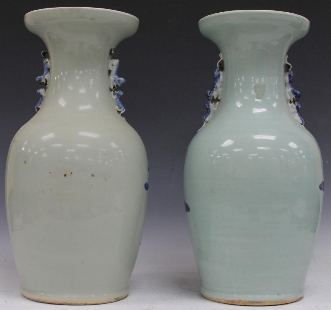 PAIR OF CHINESE BLUE AND WHITE PORCELAIN URNS - 2