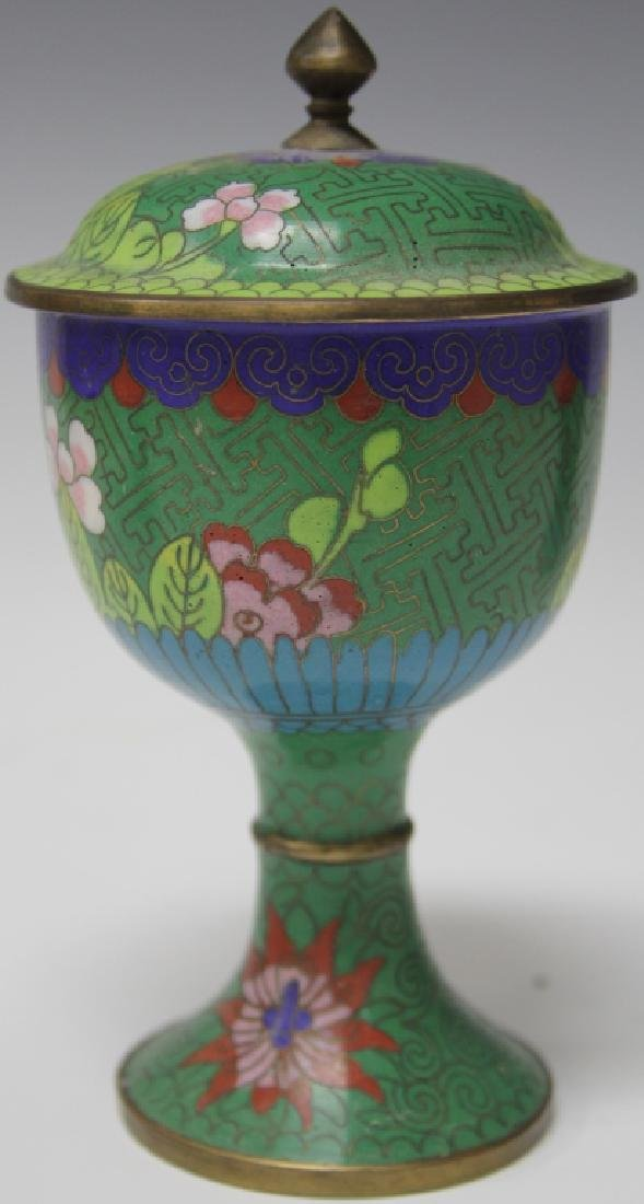 LOT OF (3) CHINESE CLOISSONE VASES, CHALICE - 10