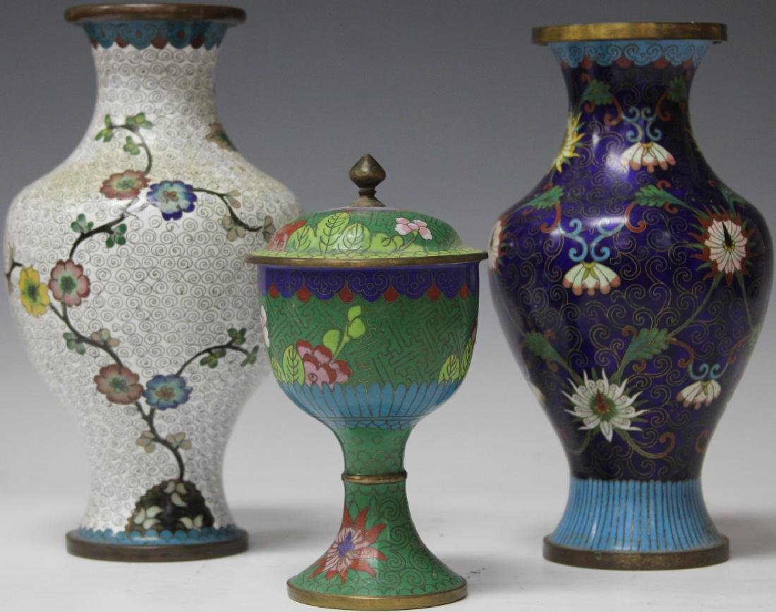 LOT OF (3) CHINESE CLOISSONE VASES, CHALICE