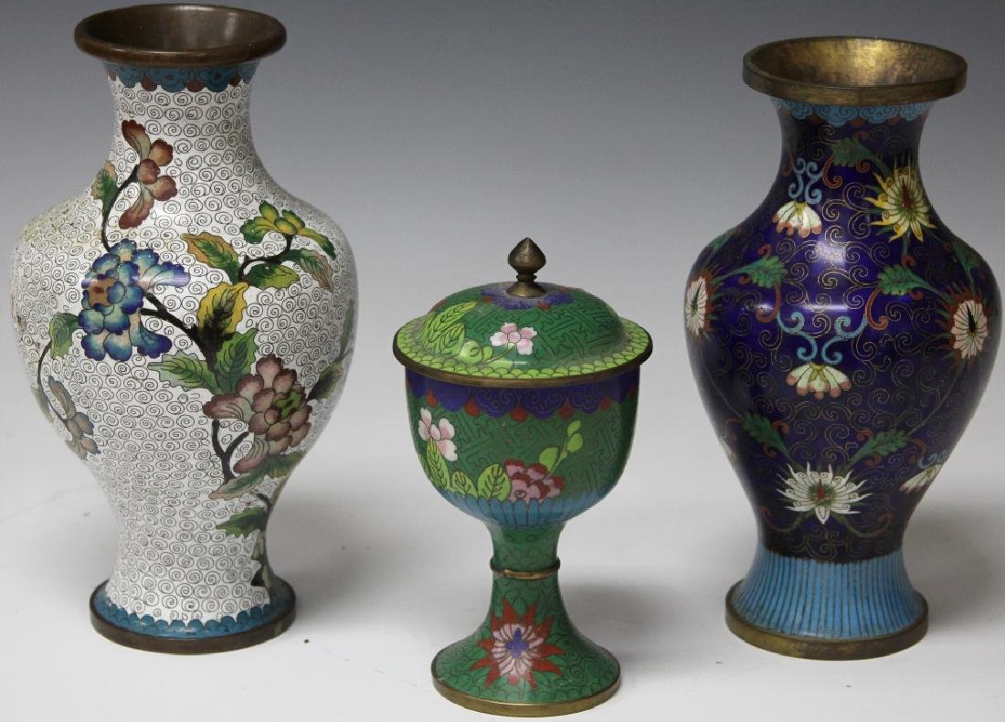 LOT OF (3) CHINESE CLOISSONE VASES, CHALICE - 6