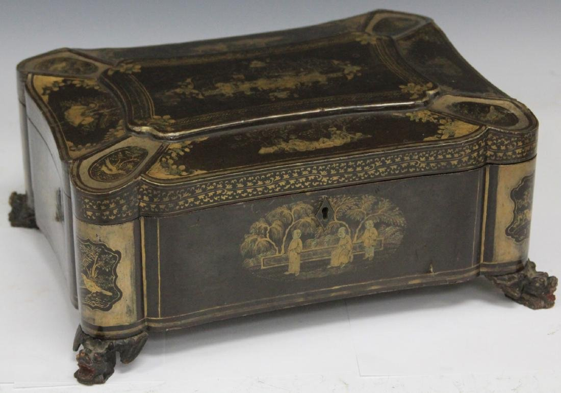 18TH C. CHINESE EXPORT LACQUERED FOOTED BOX