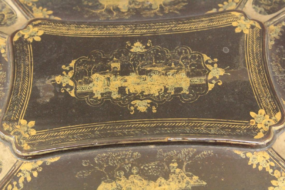 18TH C. CHINESE EXPORT LACQUERED FOOTED BOX - 4