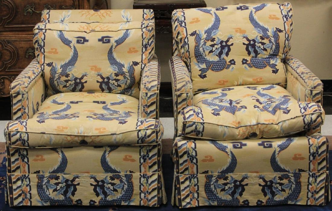 PAIR OF VINTAGE CHINESE UPHOLSTERED CHAIRS