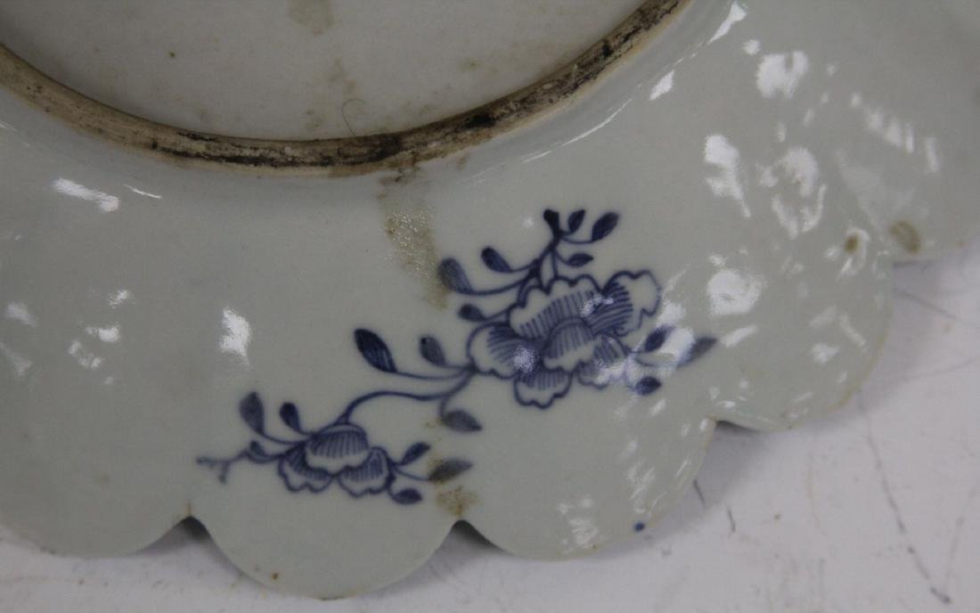 18TH C. CHINESE BLUE & WHITE PORCELAIN PLATE - 3