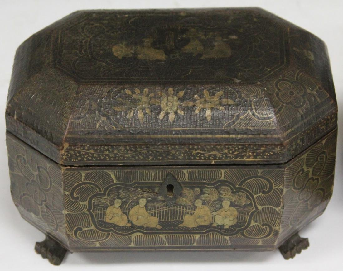 LOT OF (2) CHINESE EXPORT LACQUERED BOXES - 3