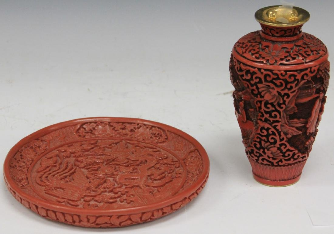 LOT OF (2) RED LACQUERED VASE & PLATE