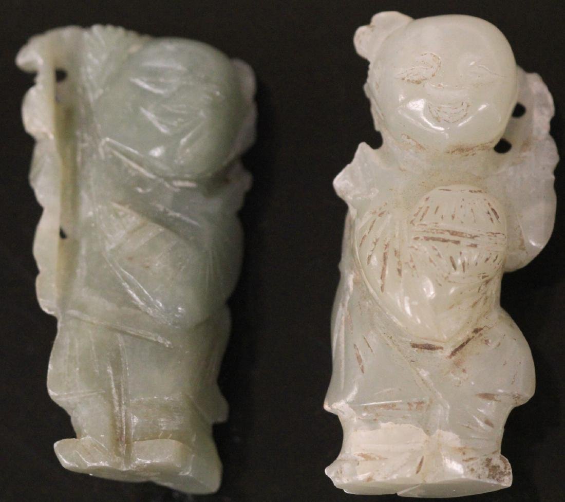 LOT OF (2) CHINESE CARVED JADE FIGURES