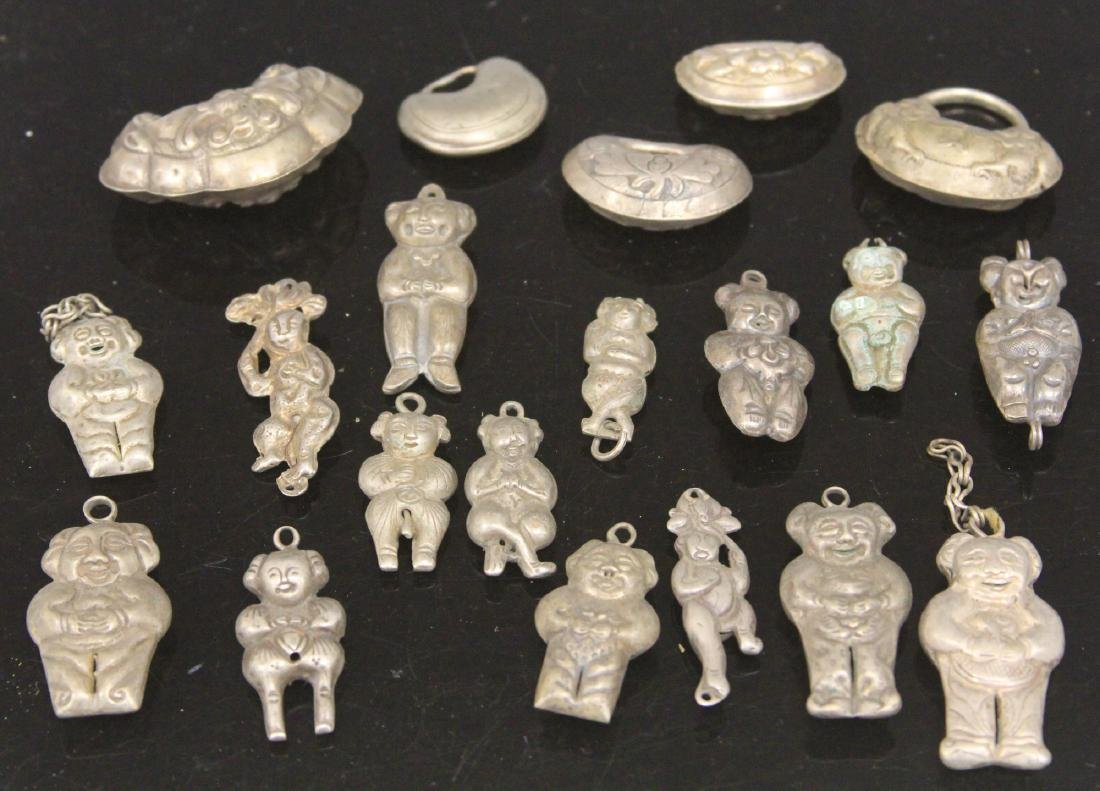 LOT OF (20) CHINESE SILVER FIGURAL PENDANTS