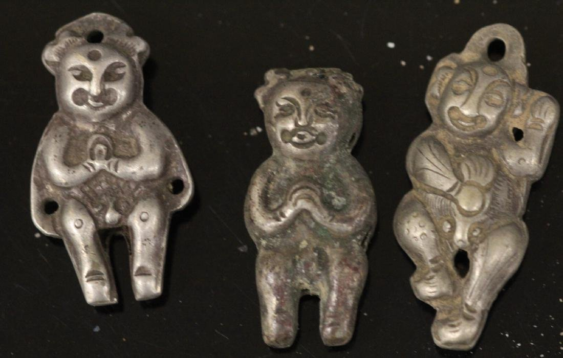 LOT OF (20) CHINESE SILVER FIGURAL PENDANTS - 2