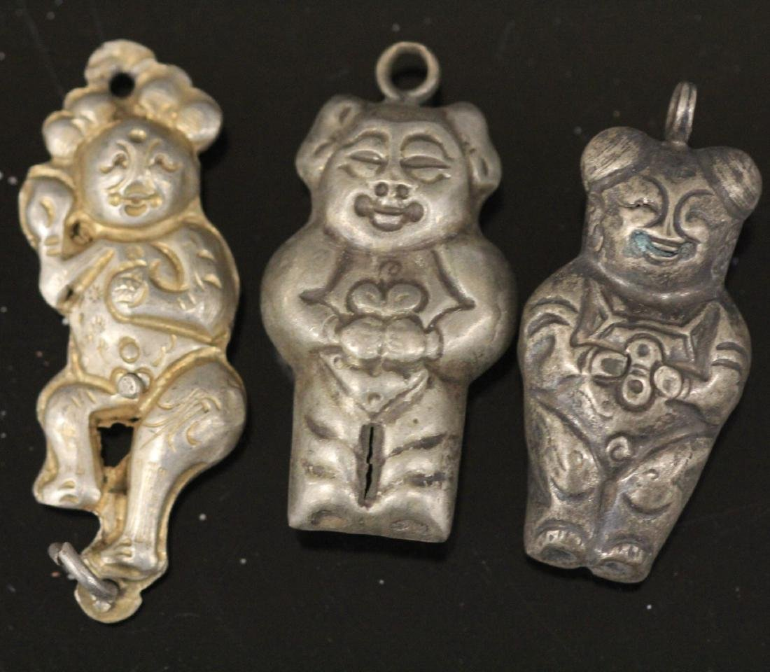 LOT OF (20) CHINESE SILVER FIGURAL PENDANTS - 3
