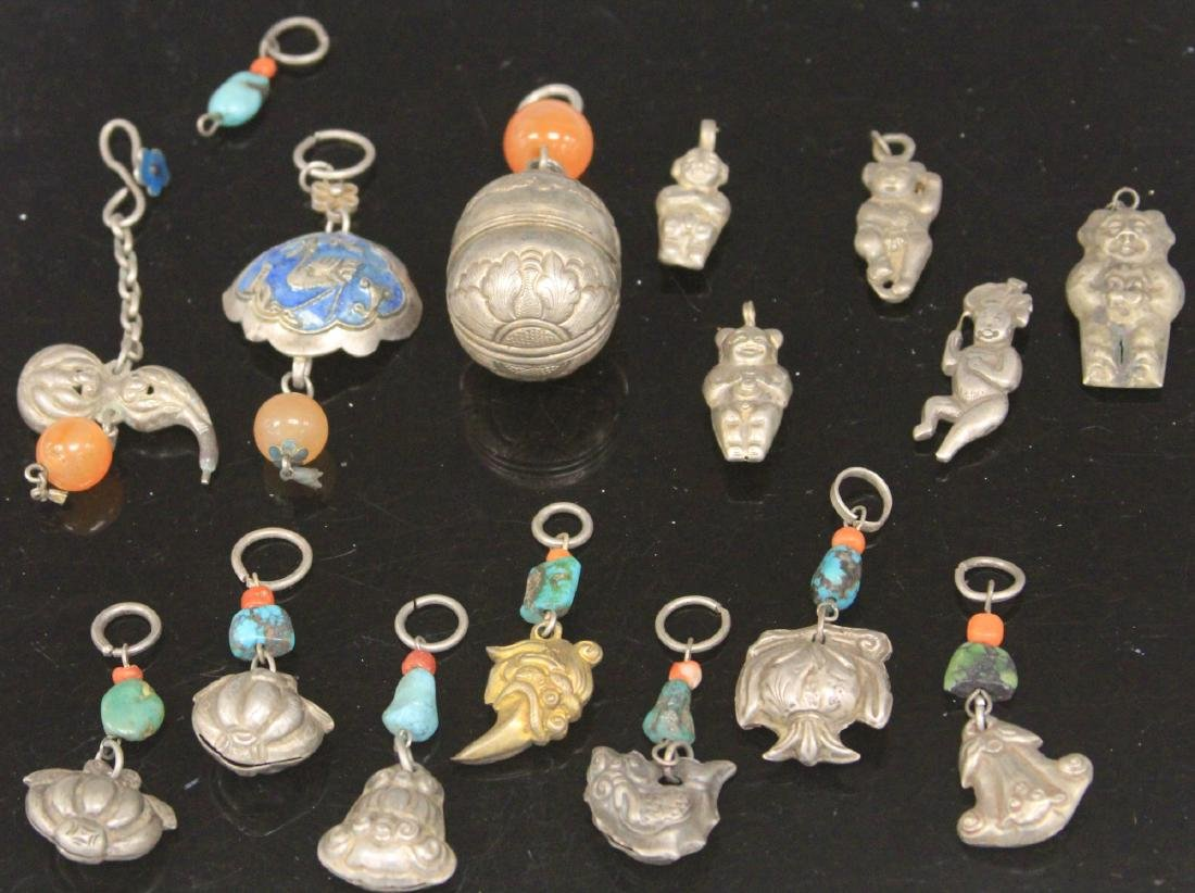LOT OF (15) CHINESE SILVER FIGURAL PENDANTS
