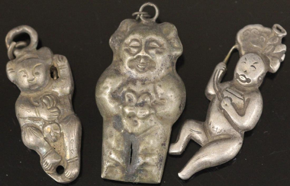 LOT OF (15) CHINESE SILVER FIGURAL PENDANTS - 5